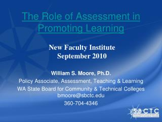The Role of Assessment in Promoting Learning