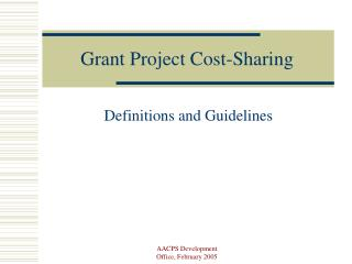 Grant Project Cost-Sharing