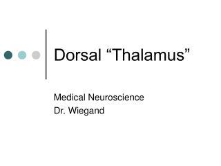 """Dorsal """"Thalamus"""""""