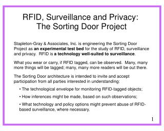 RFID, Surveillance and Privacy: The Sorting Door Project