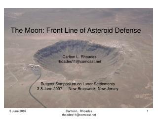 The Moon: Front Line of Asteroid Defense