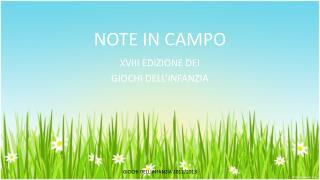 NOTE IN CAMPO