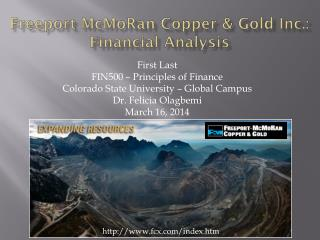 F reeport  McMoRan  Copper & Gold Inc.: Financial Analysis
