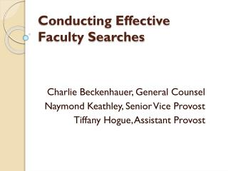 Conducting Effective Faculty Searches