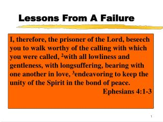Lessons From A Failure