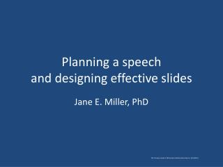 Planning a speech and designing effective slides