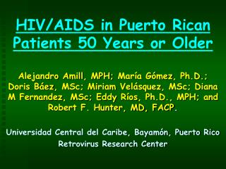 HIV/AIDS in Puerto Rican Patients 50 Years or Older