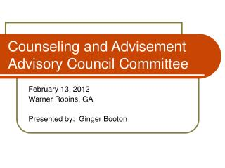 Counseling and Advisement Advisory Council Committee