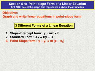 Objective: Graph and write linear equations in point-slope form
