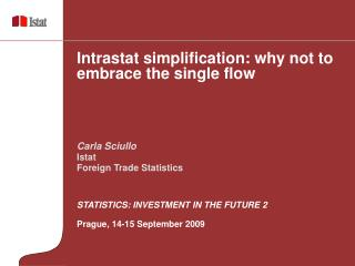 STATISTICS: INVESTMENT IN THE FUTURE 2 Prague, 14-15 September 2009