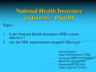National Health Insurance  in Taiwan – Part III