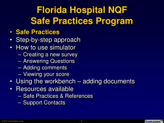 Florida Hospital NQF  Safe Practices Program