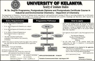 M. Sc. Degree Programme, Postgraduate Diploma and Postgraduate Certificate Course in Industrial and Environmental Chemis