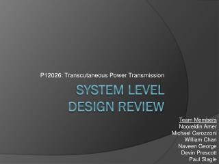 System level  design review