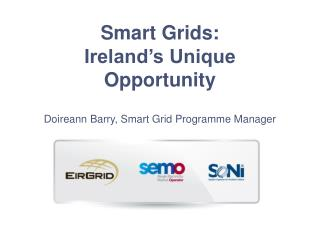 Smart Grids: Ireland's Unique  Opportunity  Doireann Barry, Smart Grid Programme Manager