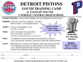 DETROIT PISTONS          YOUTH TRAINING CAMP                    at  SAGINAW NOUVEL