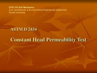 ASTM D 2434 Constant Head Permeability Test