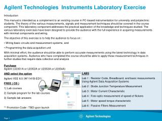 Agilent Technologies Instruments Laboratory Exercise
