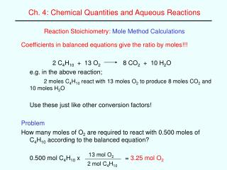 Reaction Stoichiometry: Mole Method Calculations