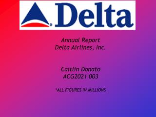 Annual Report Delta Airlines, Inc. Caitlin Donato ACG2021 003 *ALL FIGURES IN MILLIONS