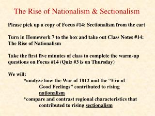 The Rise of Nationalism & Sectionalism