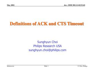 Definitions of ACK and CTS Timeout