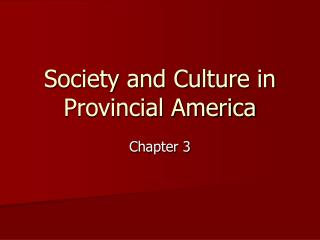 Society and Culture in Provincial America