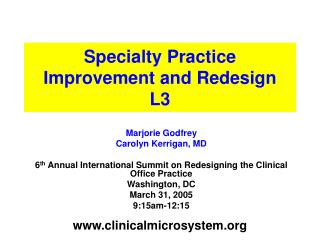 Specialty Practice Improvement and Redesign  L3