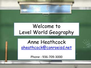 Welcome to  Level World Geography