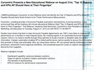Corcentric Presents a New Educational Webinar on August 21st
