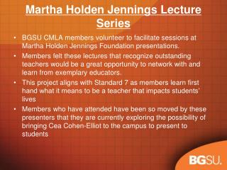 Martha Holden Jennings Lecture Series