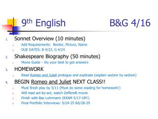 9 th  English	    		   B&G  4/16