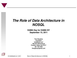 The Role of Data Architecture in NOSQL