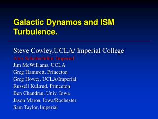 Galactic Dynamos and ISM Turbulence.