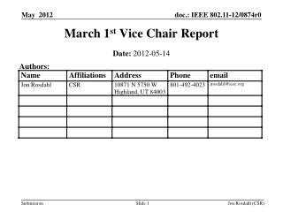 March 1 st  Vice Chair Report