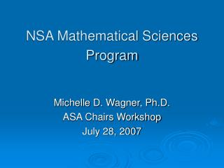 NSA Mathematical Sciences Program