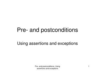 Pre- and postconditions