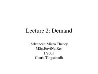 Lecture 2: Demand