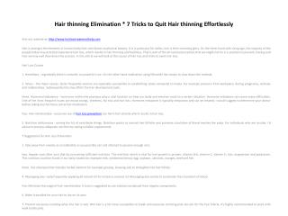 Hair thinning Elimination * 7 Tricks to Quit Hair thinning E