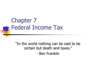 Chapter 7 Federal Income Tax