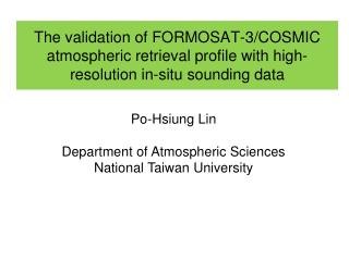 Po-Hsiung Lin Department of Atmospheric Sciences National Taiwan University