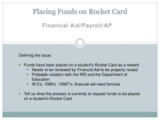 Placing Funds on Rocket Card