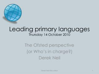 Leading primary languages Thursday 14 October 2010