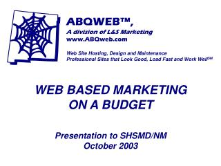 WEB BASED MARKETING ON A BUDGET