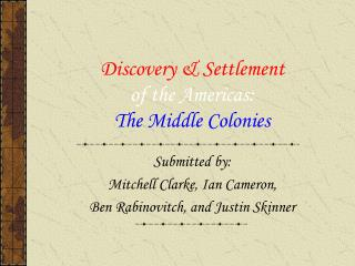 Discovery & Settlement of the Americas: The Middle Colonies