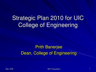 Strategic Plan 2010 for UIC College of Engineering