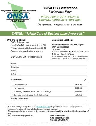 ONSA BC Conference Registration Form  Friday, April 8, 2011 (6-9pm) &