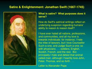Satire & Enlightenment: Jonathan Swift (1667-1745)