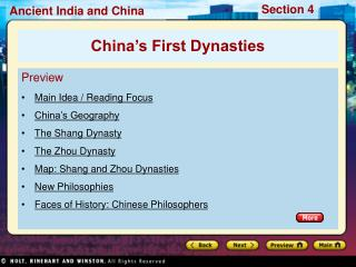 Preview Main Idea / Reading Focus China's Geography The Shang Dynasty The Zhou Dynasty