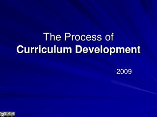 The Process of Curriculum Development